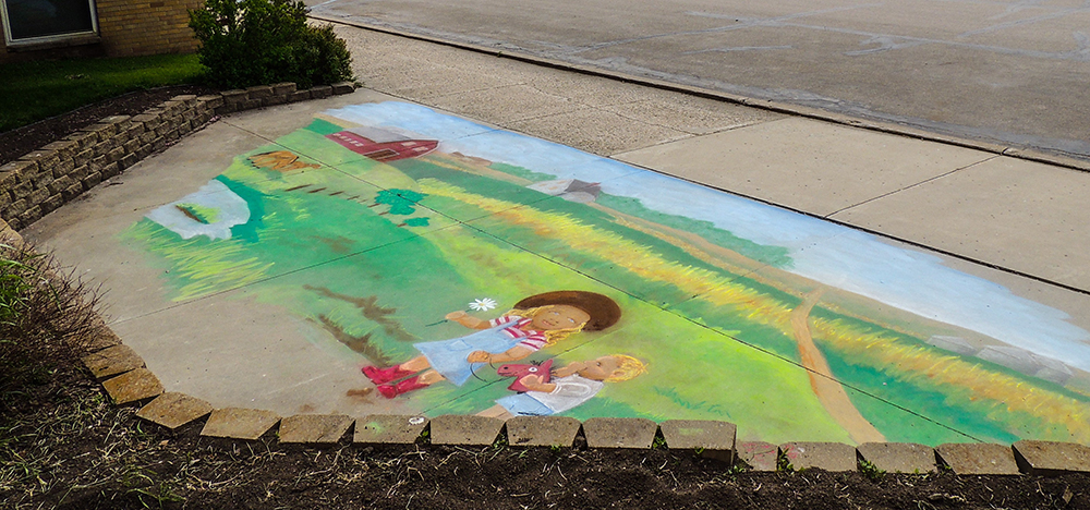 photo of chalk painting on the ground