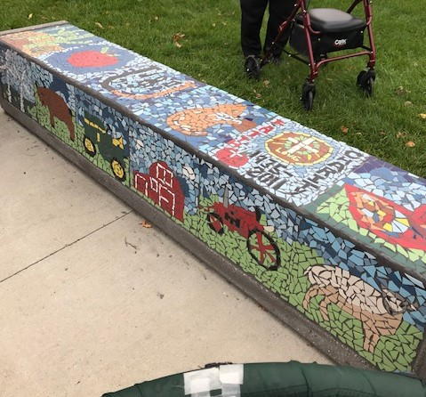 Mosaic Bench created by elders