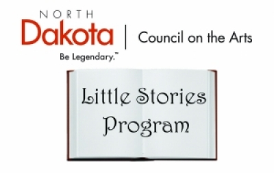 Image of an open blank book that says Little stories program and NDCAs logo